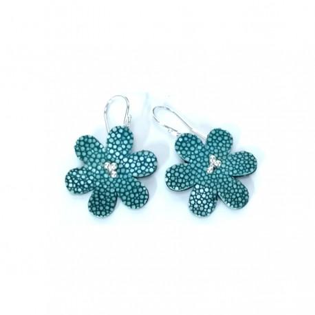 Boucles d'oreilles artisanales femme cuir bleu Galuchat