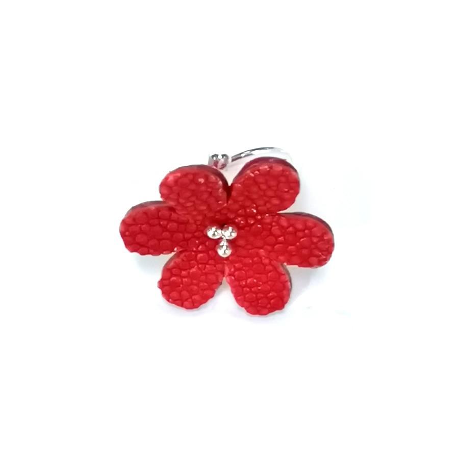 Bague Fleur de Galuchat Rouge