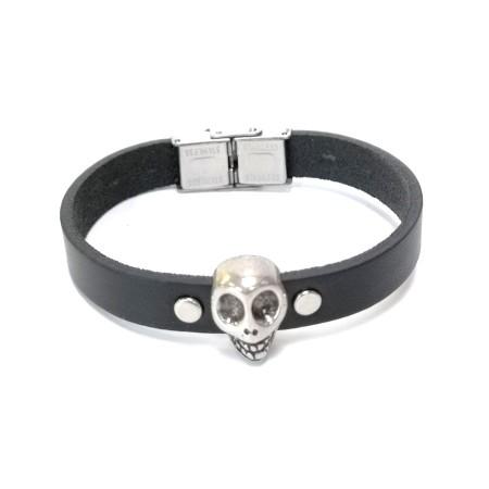 Bracelet tête de mort cuir noir rock