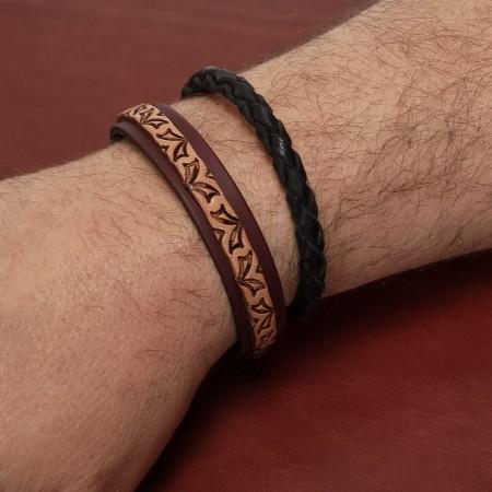 Bracelet homme cuir véritable fabrication artisanale française