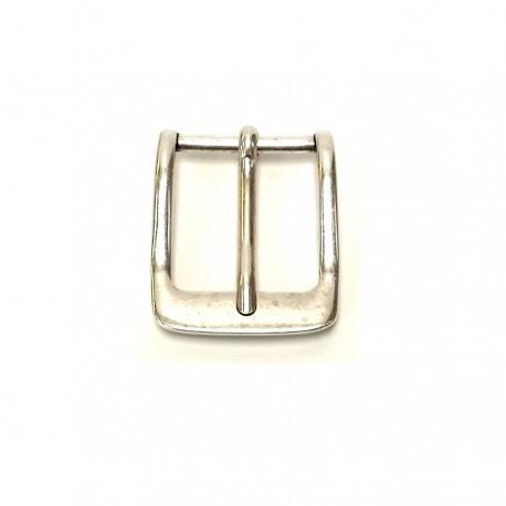 Boucle ceinture 3 cm vieil argent atelier cuir Voyageur