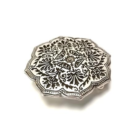 Boucle plaque fleur romantique argent artisan cuir Voyageur