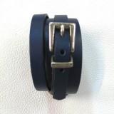 Bijoux bracelet cuir véritable bleu 4 tours boucle atelier Voyageur