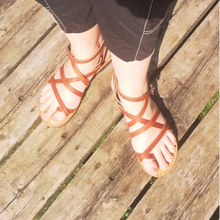 Sandales Grec marron femme cuir véritable