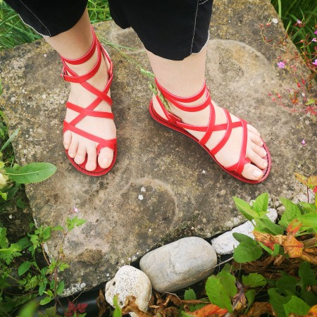 Sandales cuir rouge Voyageur