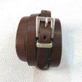 Bracelet homme femme mode cuir véritable marron mini ceinture Voyageur