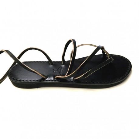 Sandales lacets femme cuir Noir Vénus Voyageur