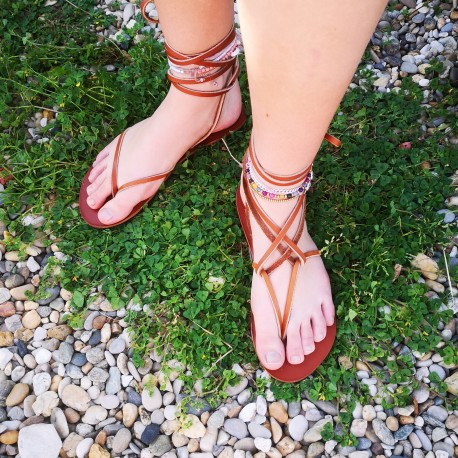 Sandales femm lacets cuir marron made in France