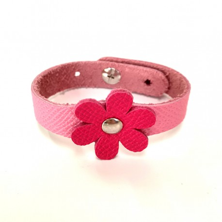 Bracelet fille Fleur Rose cuir véritable Voyageur