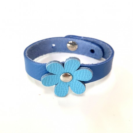 Bracelet cuir fille Fleur Bleu Voyageur