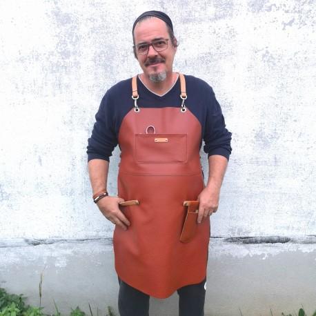 Tablier barbecue homme cuir véritable Voyageur