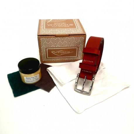 Coffret ceinture cuir véritable marron 3 cm Voyageur