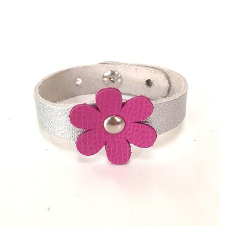 Bracelet Fleur Fushia et Argent