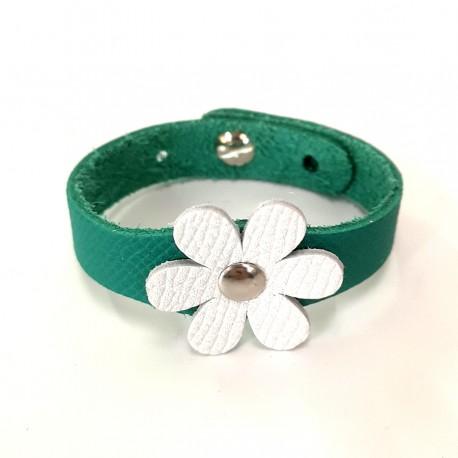 Bracelet Fleur Blanc et Vert cuir véritable
