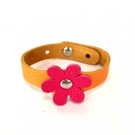 Bracelet Fleur cuir Rose et Mandarine