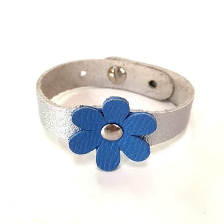 Bracelet Fleur Bleu et Argent