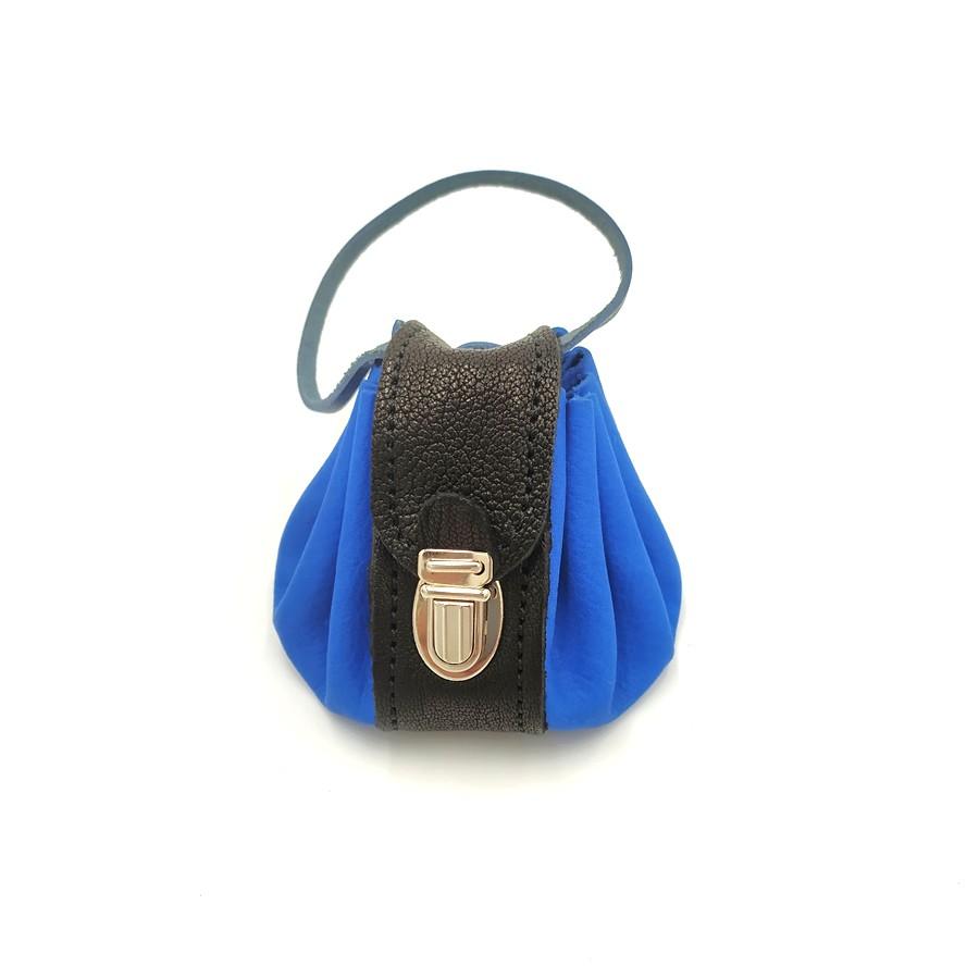Bourse cuir Seventies Bleu Poignée