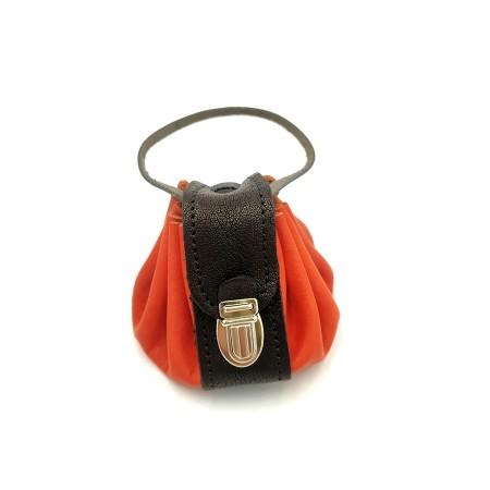 Bourse cuir Seventies Orange Poignée
