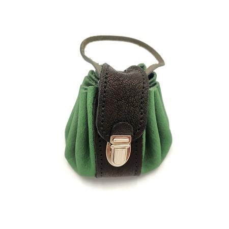 Bourse cuir Seventies Vert Poignée