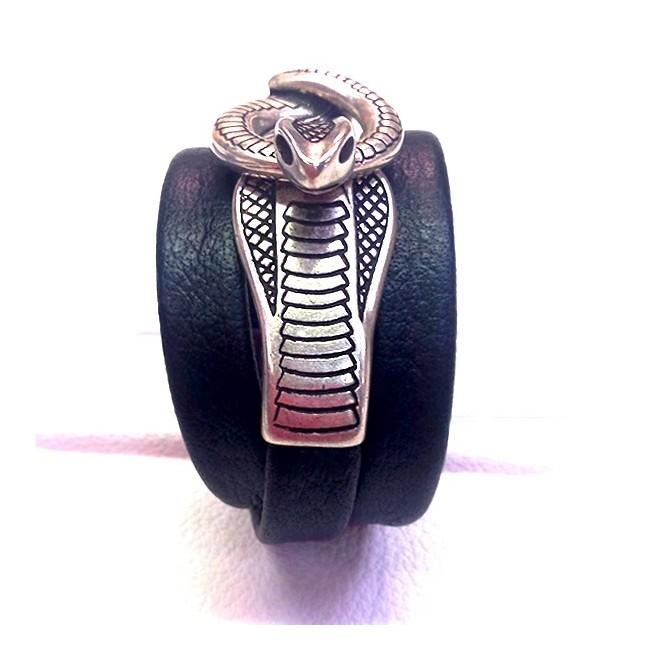 Bracelet femme snake cuir buffle noir serpent argent entrelacé en cuir artisan Voyageur