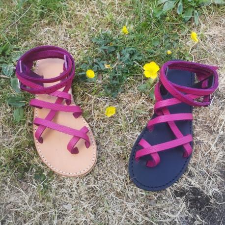 Sandales Grec femme cuir framboise