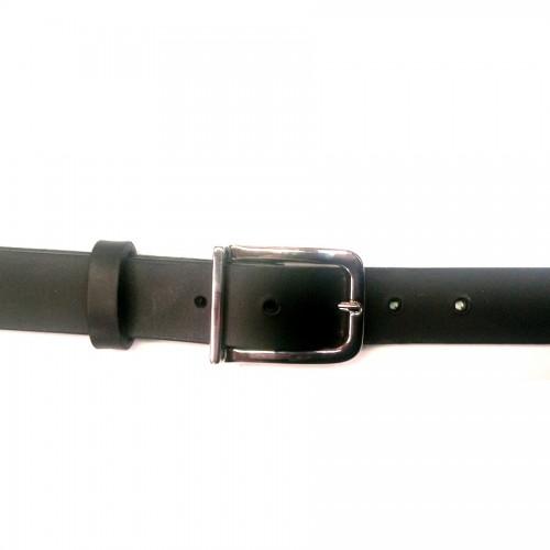 Ceinture 30 mm noir en cuir véritable et boucle n°27 nickel fabrication française Voyageur