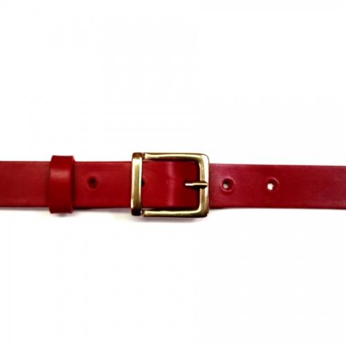 Ceinture 2.5 cm cuir véritable rouge boucle 18 laiton massif atelier Voyageur