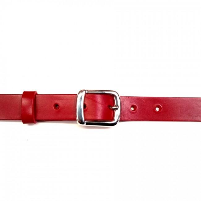 Ceinture 2.5 cm cuir véritable rouge boucle 13 cadeau chic et féminin fabrication française Voyageur