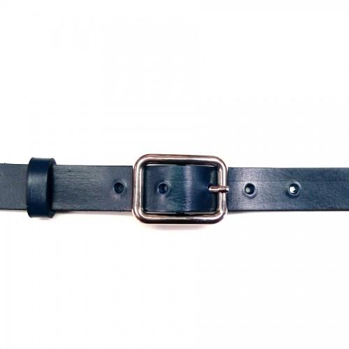 Ceinture cuir véritable bleu marine 2.5 cm et boucle 11 artisan Voyageur