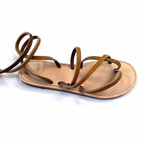 Sandales cuir Vénus marron lacets femme