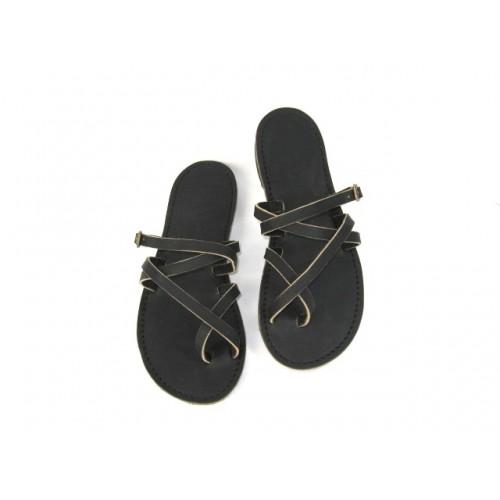 "Sandales cuir Mali cuir ""supporlo"" noir fabrication artisanale française Voyageur"