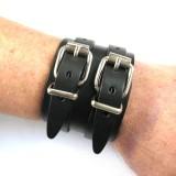 Bracelet de Force 2 boucles cuir véritable noir fabrication artisanale française Voyageur