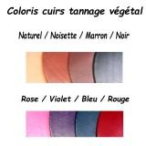 Coloris cuir véritable de bovin tannage végétal atelier Voyageur