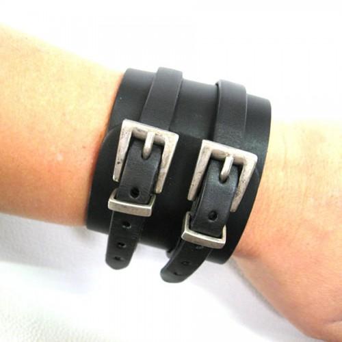 Bracelet Force 2 boucles noir trapèzes