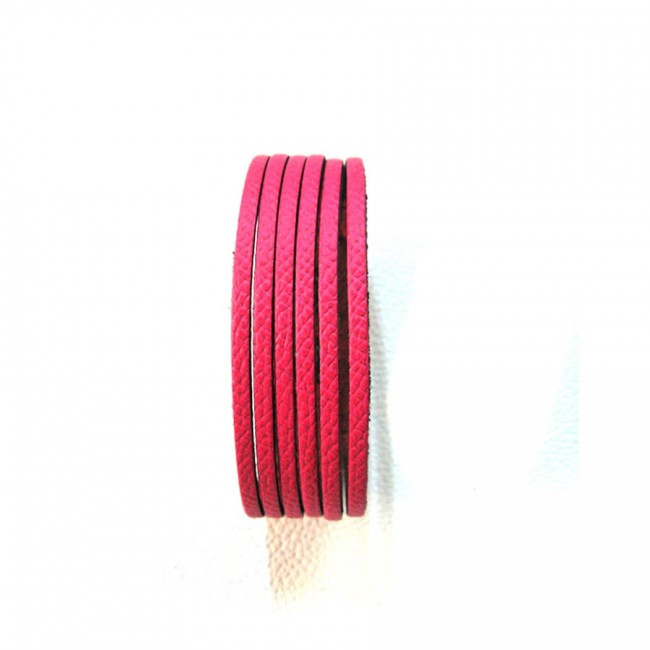 Bracelet 6 brins rose création cuir véritable atelier Voyageur