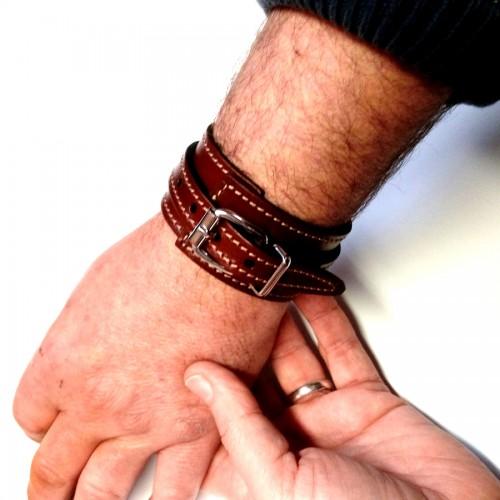 Bracelet Force homme élégant mode accessoire cuir fabrication française artisan Voyageur