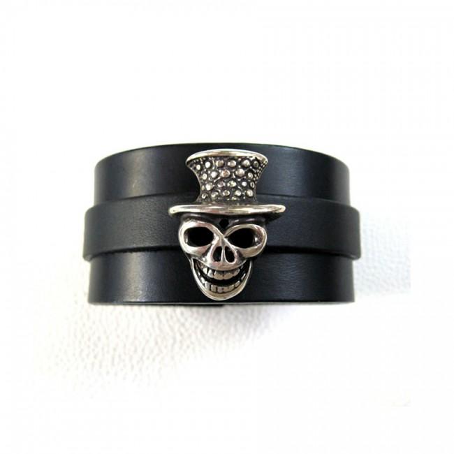 Bracelet Tête de Mort Chapeau cuir véritable fabrication artisanale française Voyageur