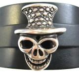 Bracelet Tête de Mort Chapeau Vaudou cuir véritable fabrication artisanale française Voyageur