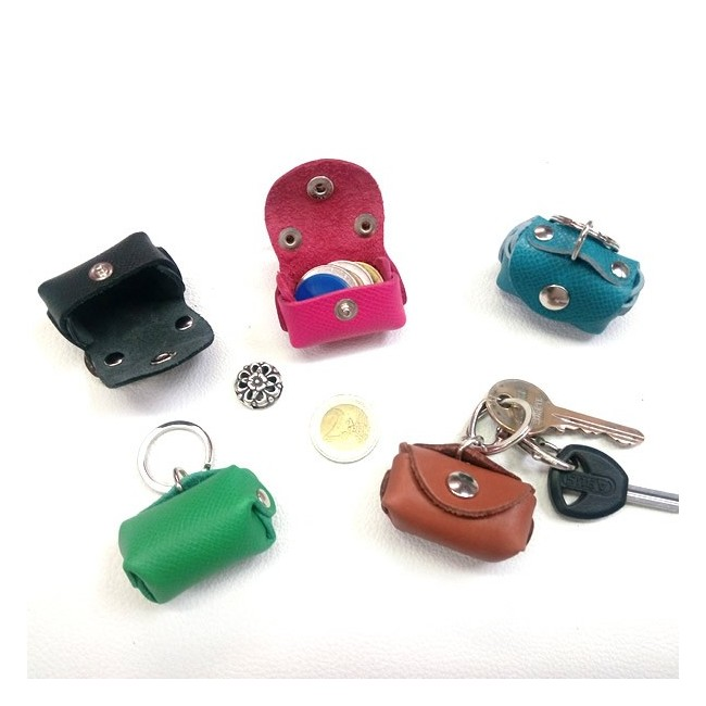 Porte-clés cuir porte monnaie artisan Voyageur