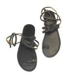 Sandales Claquettes femme lacets solide originale atelier cuir Voyageur