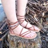 Sandales lacets femme Vénus marron cuir véritable fabrication artisanale française artisan Voyageur