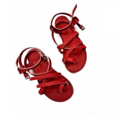 Sandales homme cuir rouge réglables