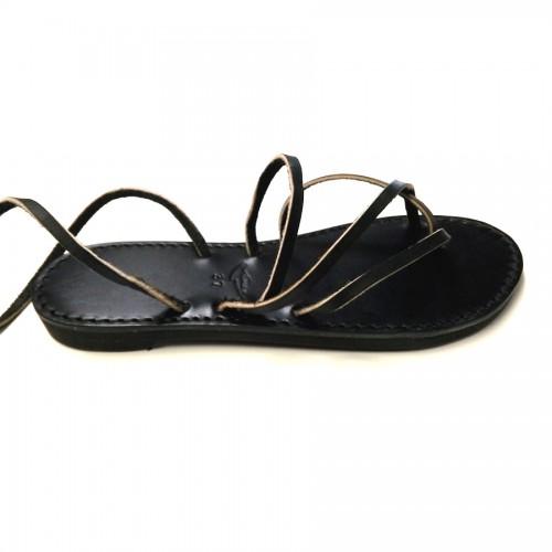 Sandales cuir véritable lacets Vénus Noir