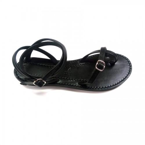 Sandales femme cuir noir fabrication française Voyageur
