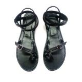 Nu pieds femme cuir noir fabrication française Voyageur