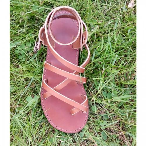 Sandales homme cuir véritable marron résistant souple
