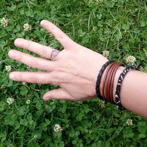 Bracelet femme cuir 4 brins marron