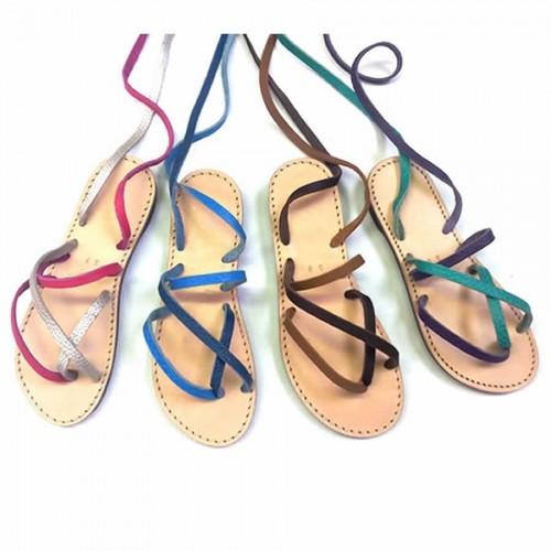 Sandales cuir femme artisanales à lacets confortable