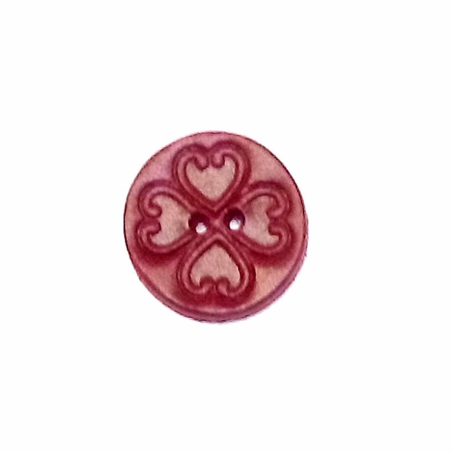Bouton rond Tréfle coeur Rouge