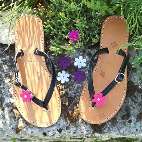 Tongs Caraïbes cuir véritable fabrication française Voyageur